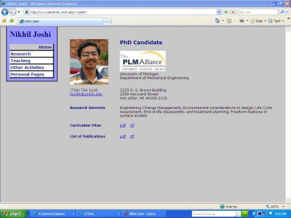 Nikhil Joshi's website in Internet Explorer IE7